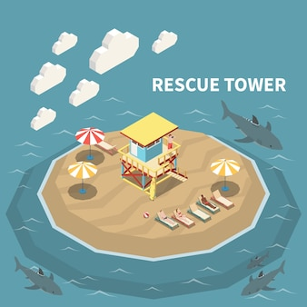 Lifeguard watching from rescue tower people lying on beach illustration