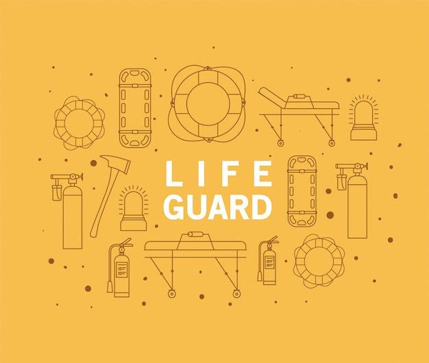 Lifeguard word in front of icon set  design