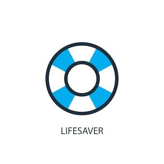 Спасатель значок. иллюстрация элемента логотипа. дизайн символа спасателя из 2-х цветной коллекции. простая концепция спасателя. может использоваться в интернете и на мобильных устройствах.