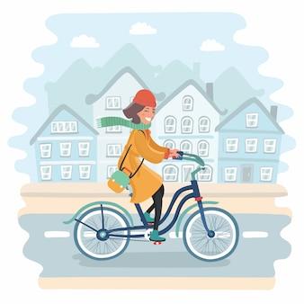 街のライフスタイルと健康。夕暮れ時の都市の背景にビンテージバイクに乗ってアクティブなファッショナブルなブロンドの女性。コピースペース。乗るのに良い日。