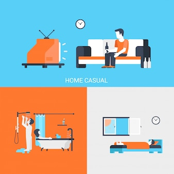 Lifestyle concept flat icons set of people watch tv, sleep in bedroom, have shower and take bath vector illustration.