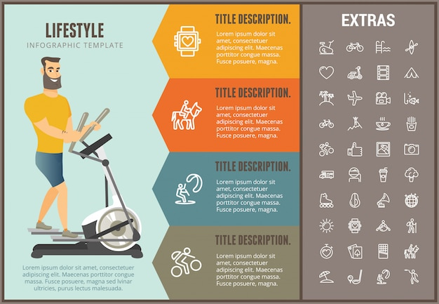 Lifestyle infographic template, elements and icons