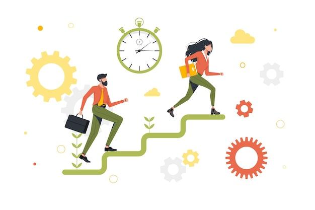 ビジネス忙しい人、ビジネスマンのライフスタイル。男性と女性のマネージャー間の競争。実行中の同僚、ビジネス競争に追いつくビジネスマン。孤立。労働者はキャリアのはしごを登る