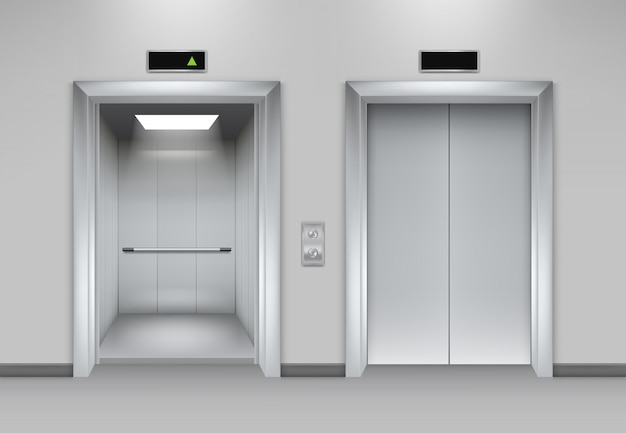 Lift doors building. business office facade interior realistic closing opening doors elevator chrome metal buttons  pictures