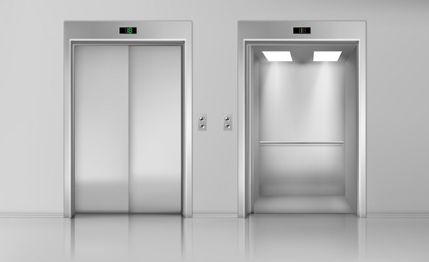 Lift doors, close and open empty elevator cabin
