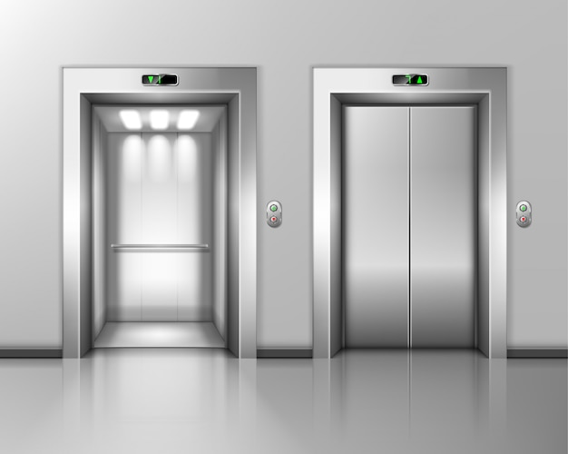 Lift doors, elevator close and open. hall interior