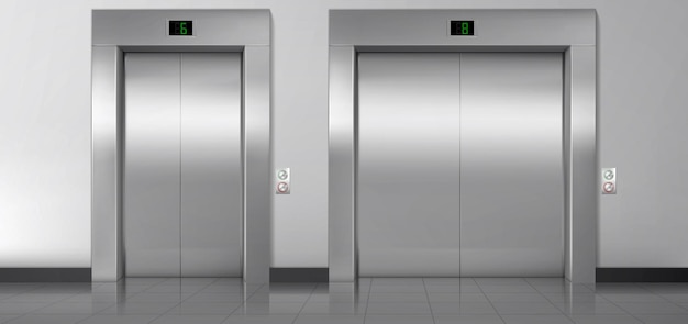 Lift doors, service and cargo closed elevators.