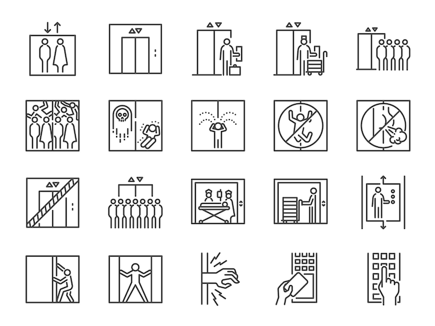 Lift line icon set.