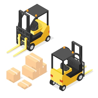 Lift truck isometric with cardboard boxes.  illustration