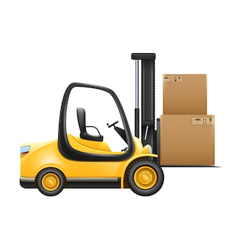 Lift truck with box isolated on white background