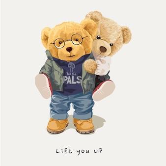 Поднимите вас с лозунгом с куклой-медведем, несущей друга на спине