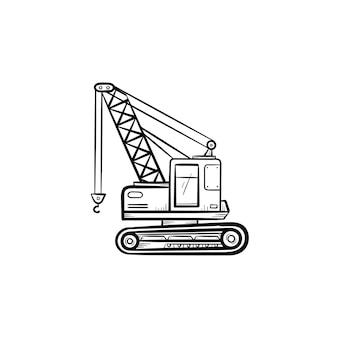 Подъемный кран рисованной наброски каракули значок. промышленный кран вектор эскиз иллюстрации для печати, интернета, мобильных устройств и инфографики, изолированные на белом фоне. концепция тяжелой промышленности.
