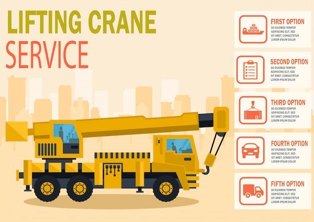 Lifting crane service. vector flat illustration.