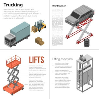 Lifting machine banner set. isometric set of lifting machine vector banner for web design