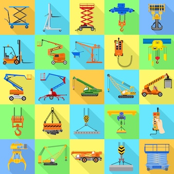 Lifting machine icon set.