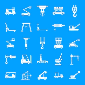 Lifting machine icons set, simple style