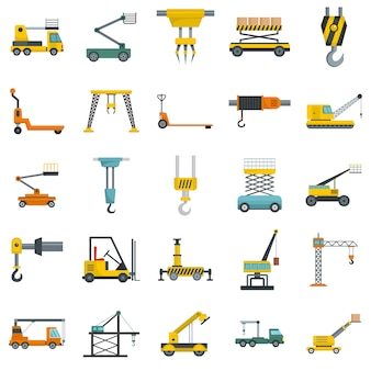 Lifting machine icons set vector isolated