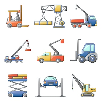 Lifting machine icons set