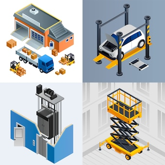 Lifting machine illustration set. isometric set of lifting machine