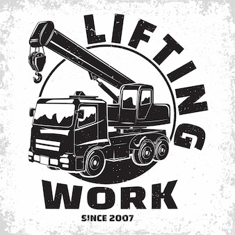 Lifting work logo design, emblem of crane machine rental organisation print stamps, constructing equipment, heavy crane machine typographyv emblem