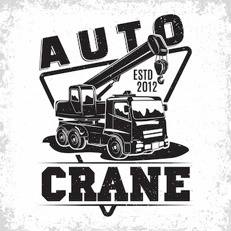 Lifting work logo design with an emblem of crane machine rental