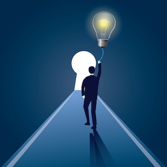 Бизнесмен и lighbulb как символ решения идеи. векторная иллюстрация