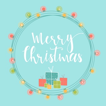 손으로 그린 글자와 밝은 추상 크리스마스 배경. 선물 및 garlands 겨울 휴가 그림.