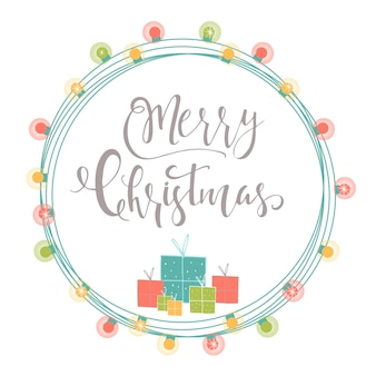 Light abstract christmas background with hand drawn lettering. winter holiday illustration with presents and garlands. template for decoration, greeting cards, invitations.