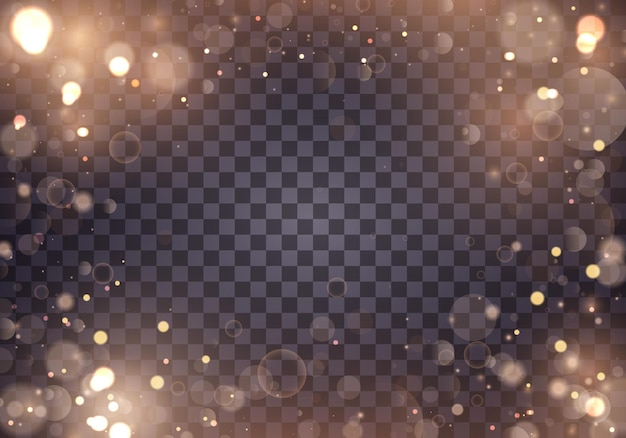 光の抽象的な光るボケライト。透明な背景に分離されたボケライト効果。お祝いの金色の明るい背景。概念。ぼやけたライトフレーム。