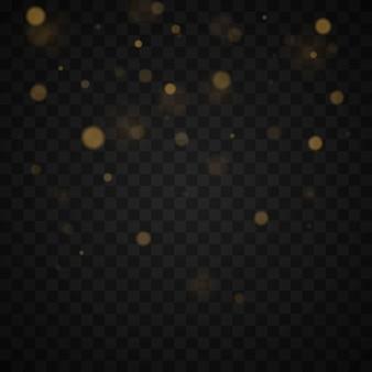 光の抽象的な光るボケ味が点灯します。透明な背景に分離されたボケライト効果。お祝いの紫と金色の明るい背景。