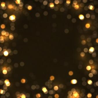 光の抽象的な光るボケライト。輝く星、太陽の粒子、黒い背景にレンズフレア効果のある火花。きらめく魔法のほこりの粒子。クリスマスのコンセプト。ベクトルイラスト。