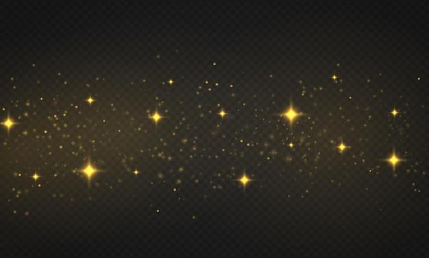 光の抽象的な光るボケライト。透明な背景にレンズフレア効果のある輝く星、太陽の粒子、火花。きらめく魔法のほこりの粒子。クリスマスのコンセプト。ベクトルイラスト。