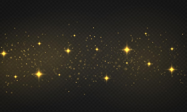 Light abstract glowing bokeh lights. shining star, sun particles and sparks with lens flare effect on transparent background. sparkling magical dust particles. christmas concept. vector illustration.