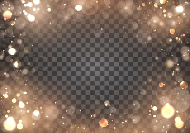 Легкие абстрактные светящиеся золотые огни боке на прозрачной. затуманенное светлая рамка.