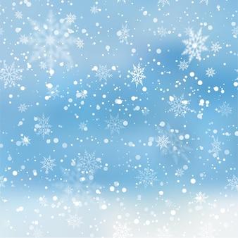 雪片と明るい抽象的な冬の背景。ベクター。