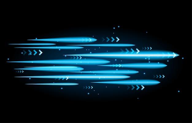 Свет и полосы быстро движутся по темному фону.