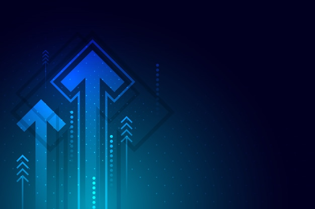Light arrow up circuit on dark blue background with copy space copy illustration, business growth concept.