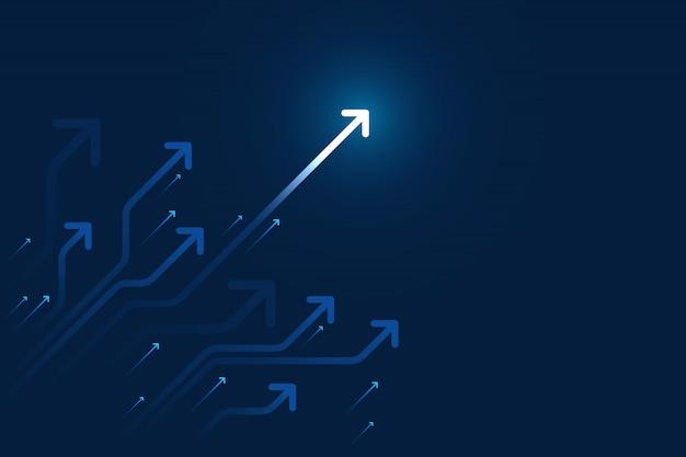 コピースペースコピーイラスト、ビジネスの成長の概念と暗い青色の背景に回路を光の矢印。