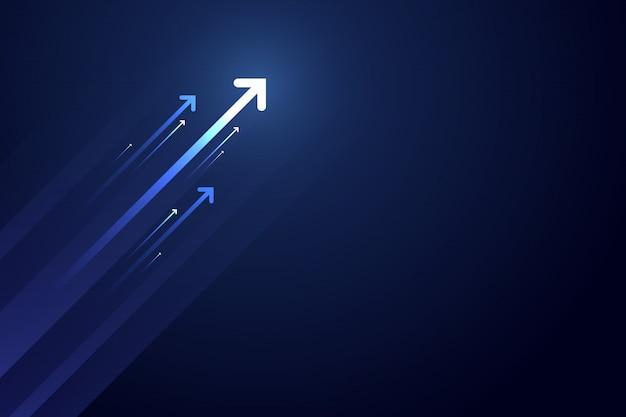 Светлая стрелка вверх по цепи на синем фоне с копией пространства копии иллюстрации, концепция роста бизнеса.