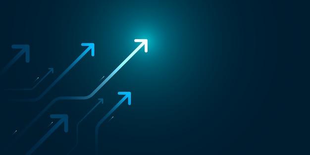 Светлая стрелка вверх по цепи на синей предпосылке с иллюстрацией экземпляра космоса экземпляра, концепцией роста дела.