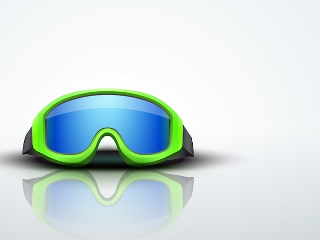 Light background with green snow ski goggles. sport symbol of defense. editable  illustration.