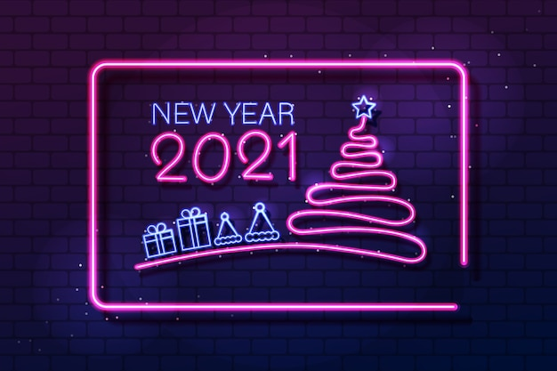 Световой баннер с новым годом шаблон с неоновым текстом и украшениями