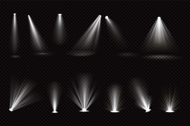 Light beams from spotlights and floor projectors isolated