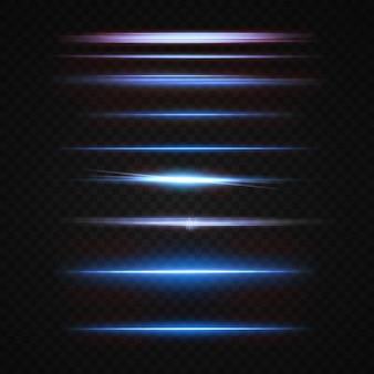 Световые лучи неонового и синего цветов горизонтальный неоновый лазер с подсветкой