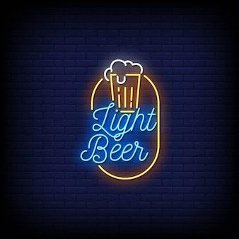 Light beer neon signs style text .