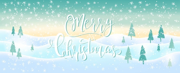 Light blue abstract christmas background with white sparkling snowflakes. winter holiday illustration,  landscape with presents, space for text. template for decoration, greeting cards, invitations.