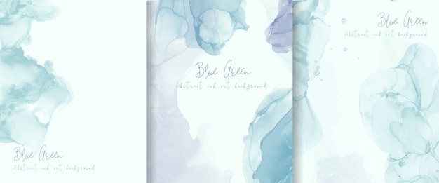 Light blue alcohol ink background collection. abstract fluid art painting design.
