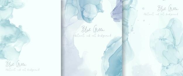 밝은 파란색 알코올 잉크 배경 모음. 추상 유체 예술 그림 디자인.