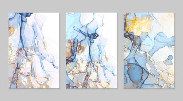 ライトブルーとゴールドの大理石の抽象的なテクスチャ