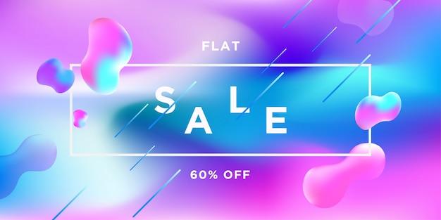 Светло-синий и розовый распродажа баннер fluid color